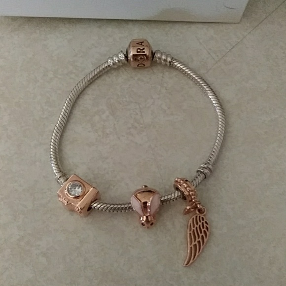 Pandora Jewelry - Euc. Auth.PANDORA rose bracelet and charms